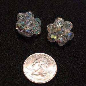Vintage Iridescent Cluster Rhinestone Earrings